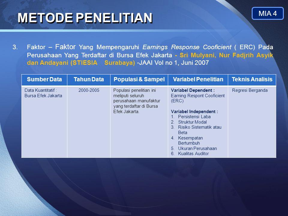 LOGO METODE PENELITIAN MIA 4 3.Faktor – Faktor Yang Mempengaruhi Earnings Response Cooficient ( ERC) Pada Perusahaan Yang Terdaftar di Bursa Efek Jaka