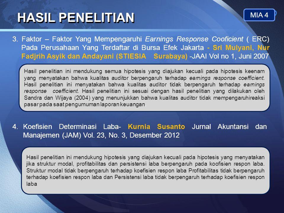 LOGO HASIL PENELITIAN MIA 4 3. Faktor – Faktor Yang Mempengaruhi Earnings Response Cooficient ( ERC) Pada Perusahaan Yang Terdaftar di Bursa Efek Jaka