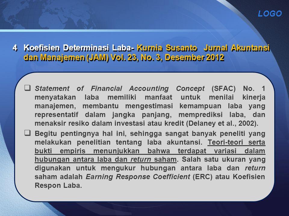 LOGO 4Koefisien Determinasi Laba- Kurnia Susanto Jurnal Akuntansi dan Manajemen (JAM) Vol. 23, No. 3, Desember 2012  Statement of Financial Accountin