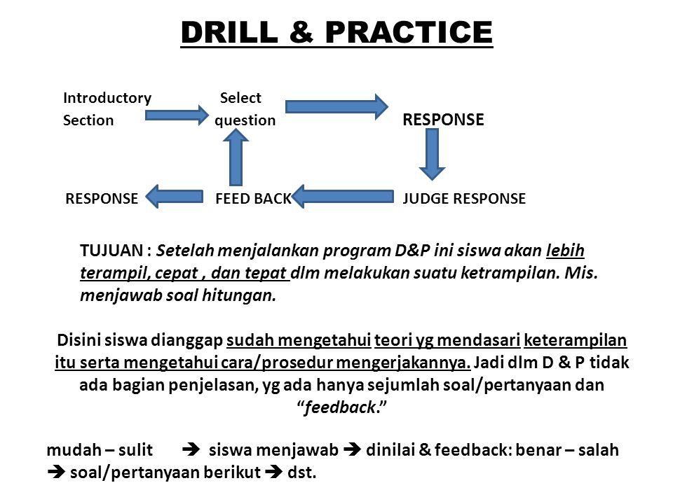 DRILL & PRACTICE TUJUAN : Setelah menjalankan program D&P ini siswa akan lebih terampil, cepat, dan tepat dlm melakukan suatu ketrampilan. Mis. menjaw