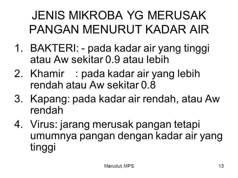 Marudut, MPS13 JENIS MIKROBA YG MERUSAK PANGAN MENURUT KADAR AIR 1.BAKTERI: - pada kadar air yang tinggi atau Aw sekitar 0.9 atau lebih 2.Khamir : pad