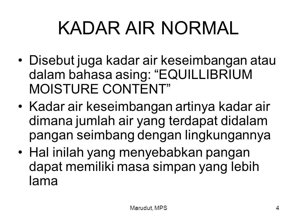 """Marudut, MPS4 KADAR AIR NORMAL Disebut juga kadar air keseimbangan atau dalam bahasa asing: """"EQUILLIBRIUM MOISTURE CONTENT"""" Kadar air keseimbangan art"""
