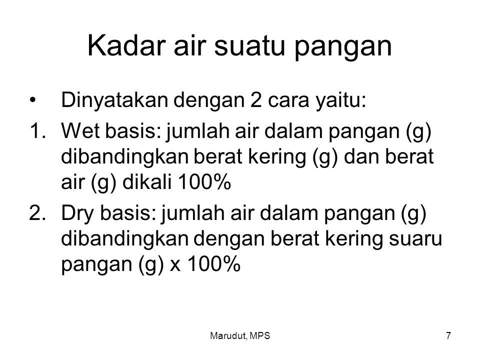 Marudut, MPS7 Kadar air suatu pangan Dinyatakan dengan 2 cara yaitu: 1.Wet basis: jumlah air dalam pangan (g) dibandingkan berat kering (g) dan berat