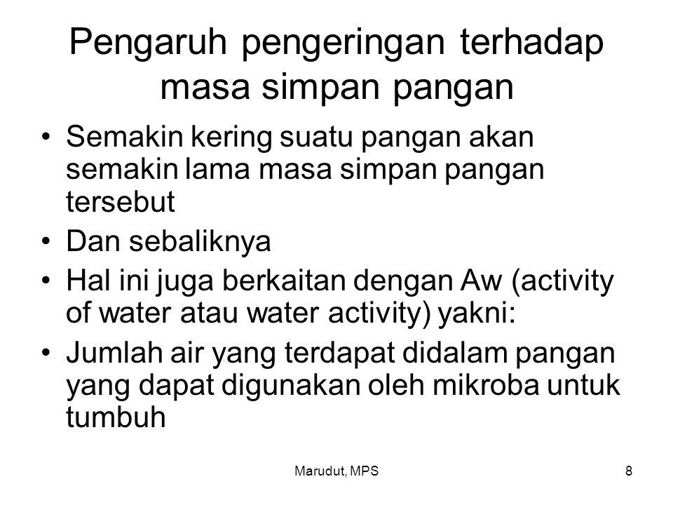 Marudut, MPS9 Pengaruh pengeringan terhadap masa simpan pangan Oleh karena itu semakin kering suatu pangan maka Aw semakin rendah dan sebaliknya semakin tinggi kadar air suatu pangan maka Aw semakin tinggi Nilai Aw berkisar antara 0 – 1 Sedangkan kadar air berkisar antara 0%- 100%