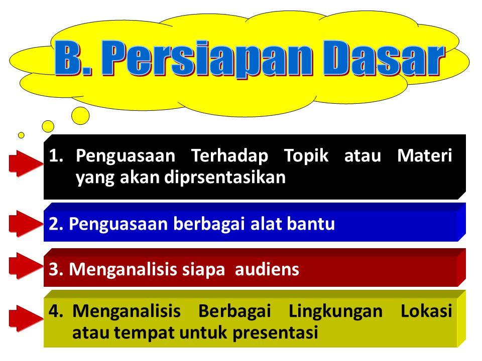 1.Penguasaan Terhadap Topik atau Materi yang akan diprsentasikan 2. Penguasaan berbagai alat bantu 3. Menganalisis siapa audiens 4.Menganalisis Berbag
