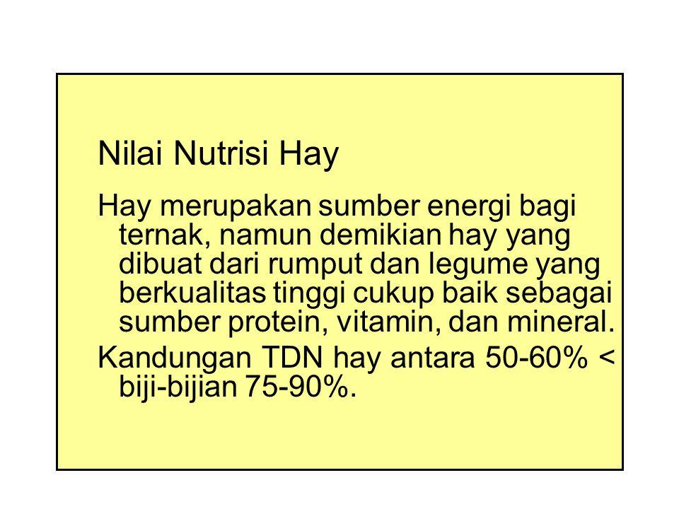Nilai Nutrisi Hay Hay merupakan sumber energi bagi ternak, namun demikian hay yang dibuat dari rumput dan legume yang berkualitas tinggi cukup baik sebagai sumber protein, vitamin, dan mineral.