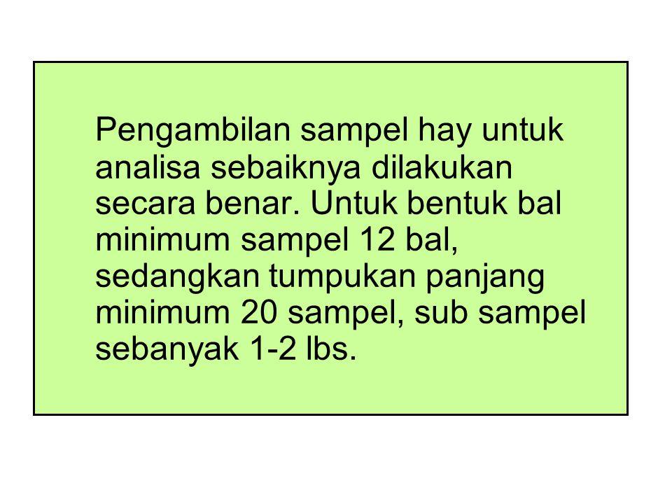 Pengambilan sampel hay untuk analisa sebaiknya dilakukan secara benar.