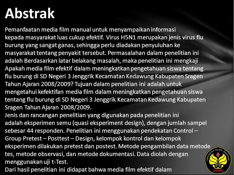 Kata Kunci Efektivitas Media Film dan Flu Burung