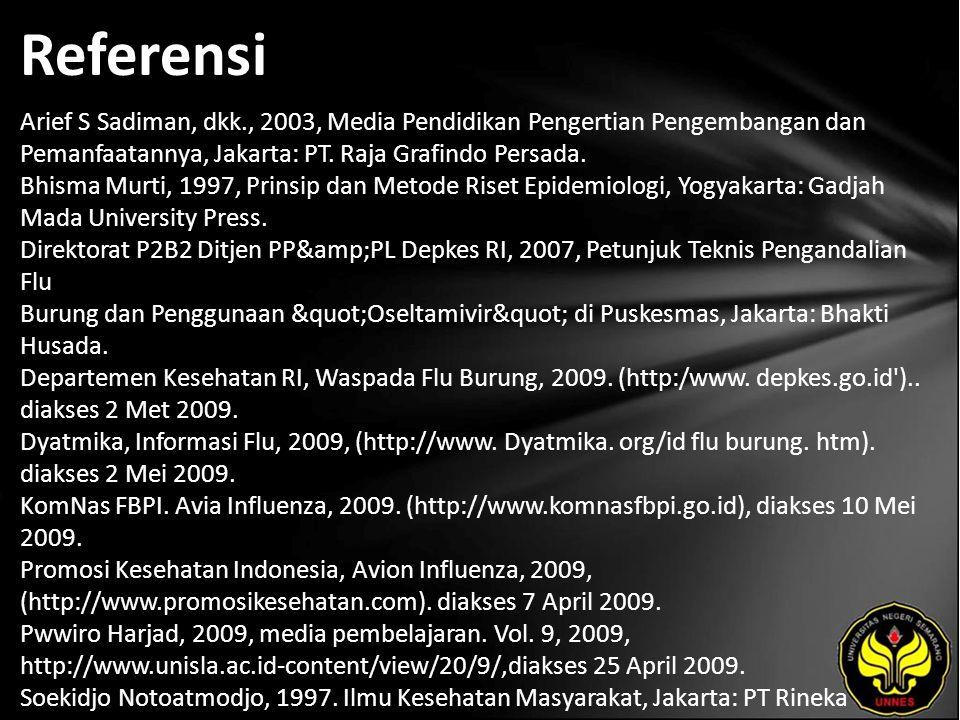 Referensi Arief S Sadiman, dkk., 2003, Media Pendidikan Pengertian Pengembangan dan Pemanfaatannya, Jakarta: PT.