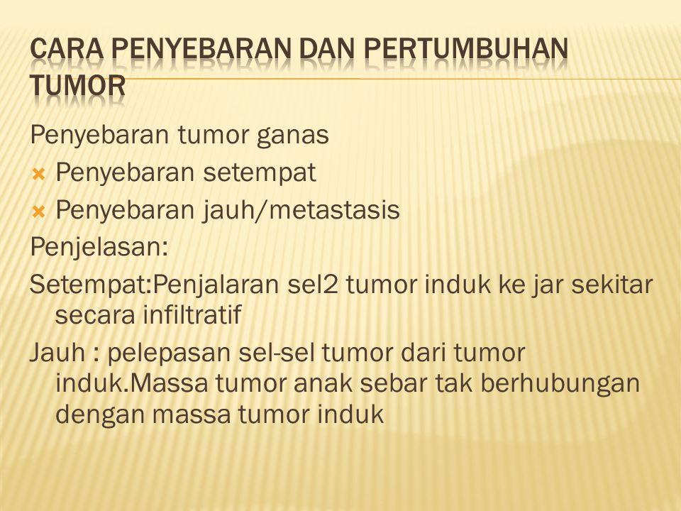 Penyebaran tumor ganas  Penyebaran setempat  Penyebaran jauh/metastasis Penjelasan: Setempat:Penjalaran sel2 tumor induk ke jar sekitar secara infil