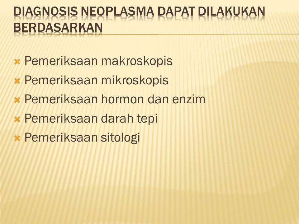  Pemeriksaan makroskopis  Pemeriksaan mikroskopis  Pemeriksaan hormon dan enzim  Pemeriksaan darah tepi  Pemeriksaan sitologi