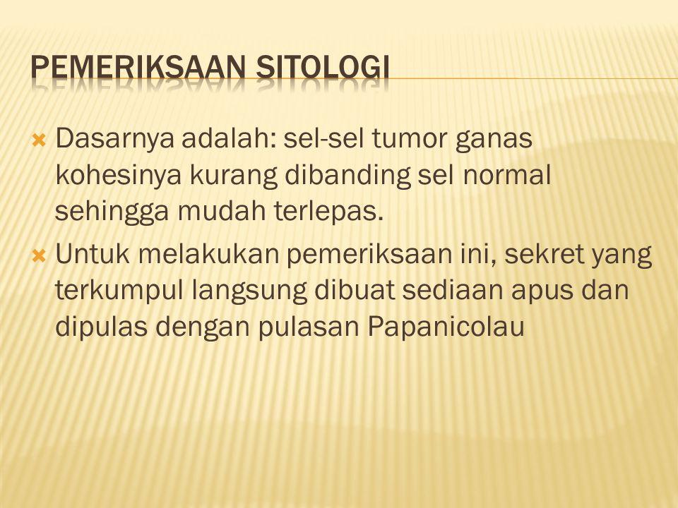  Dasarnya adalah: sel-sel tumor ganas kohesinya kurang dibanding sel normal sehingga mudah terlepas.  Untuk melakukan pemeriksaan ini, sekret yang t
