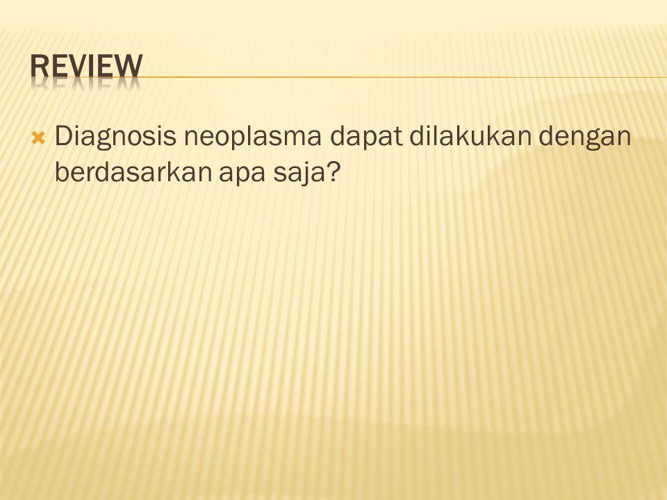  Diagnosis neoplasma dapat dilakukan dengan berdasarkan apa saja?