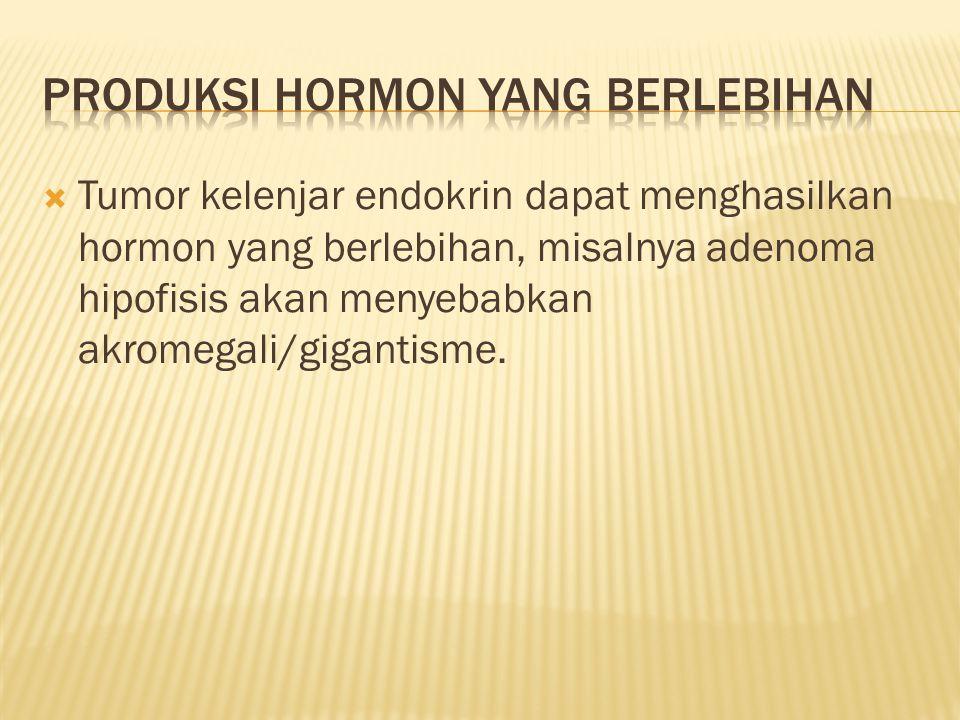  Tumor kelenjar endokrin dapat menghasilkan hormon yang berlebihan, misalnya adenoma hipofisis akan menyebabkan akromegali/gigantisme.