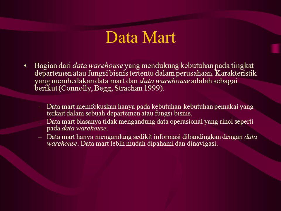 Data Mart Bagian dari data warehouse yang mendukung kebutuhan pada tingkat departemen atau fungsi bisnis tertentu dalam perusahaan. Karakteristik yang