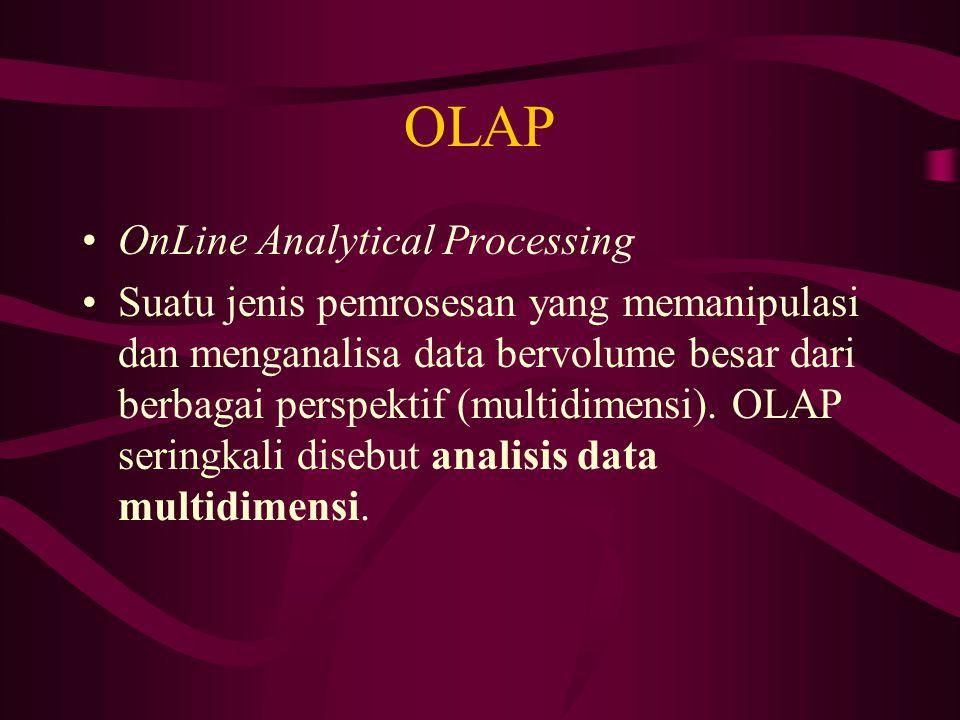 OLAP OnLine Analytical Processing Suatu jenis pemrosesan yang memanipulasi dan menganalisa data bervolume besar dari berbagai perspektif (multidimensi).