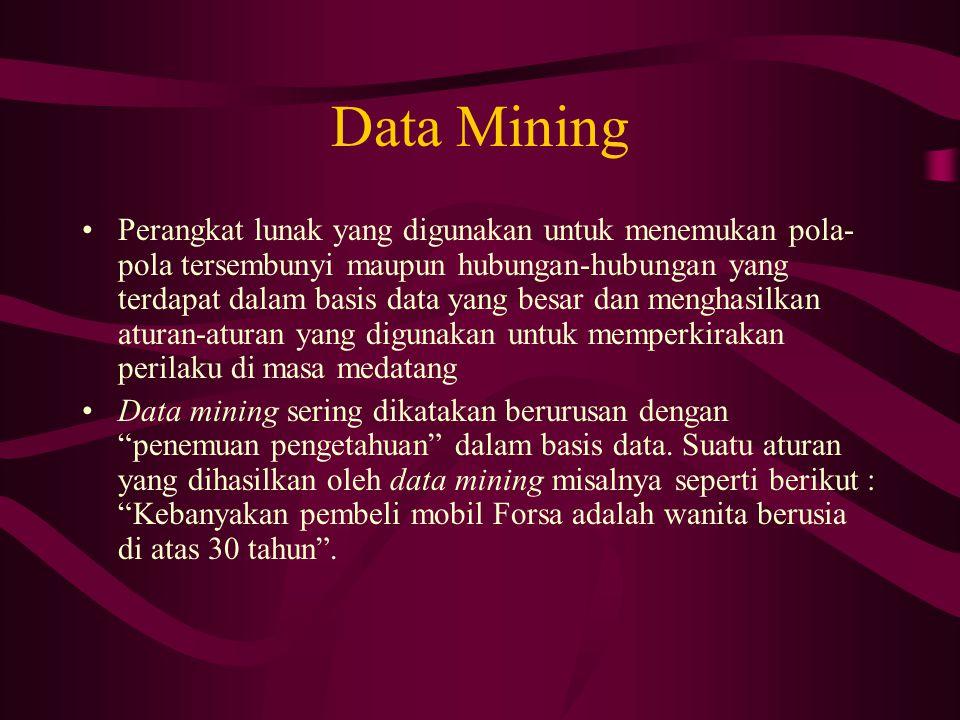 Data Mining Perangkat lunak yang digunakan untuk menemukan pola- pola tersembunyi maupun hubungan-hubungan yang terdapat dalam basis data yang besar dan menghasilkan aturan-aturan yang digunakan untuk memperkirakan perilaku di masa medatang Data mining sering dikatakan berurusan dengan penemuan pengetahuan dalam basis data.