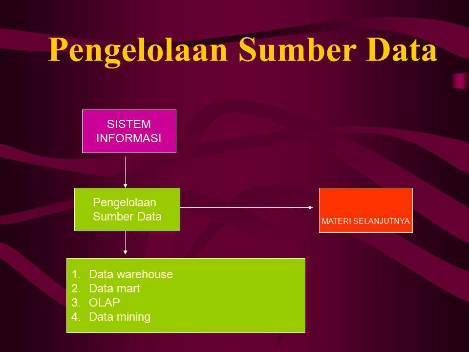 Pengelolaan Sumber Data Pengelolaan Sumber Data MATERI SELANJUTNYA SISTEM INFORMASI 1.Data warehouse 2.Data mart 3.OLAP 4.Data mining