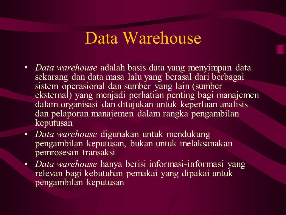 Data Warehouse Data warehouse adalah basis data yang menyimpan data sekarang dan data masa lalu yang berasal dari berbagai sistem operasional dan sumber yang lain (sumber eksternal) yang menjadi perhatian penting bagi manajemen dalam organisasi dan ditujukan untuk keperluan analisis dan pelaporan manajemen dalam rangka pengambilan keputusan Data warehouse digunakan untuk mendukung pengambilan keputusan, bukan untuk melaksanakan pemrosesan transaksi Data warehouse hanya berisi informasi-informasi yang relevan bagi kebutuhan pemakai yang dipakai untuk pengambilan keputusan