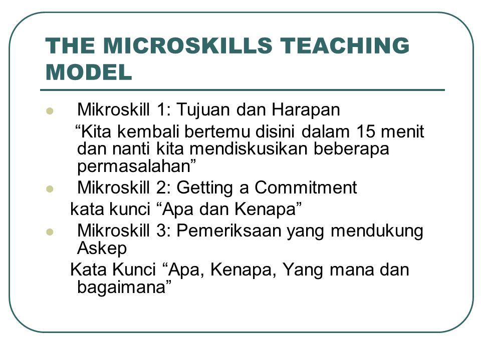 """THE MICROSKILLS TEACHING MODEL Mikroskill 1: Tujuan dan Harapan """"Kita kembali bertemu disini dalam 15 menit dan nanti kita mendiskusikan beberapa perm"""