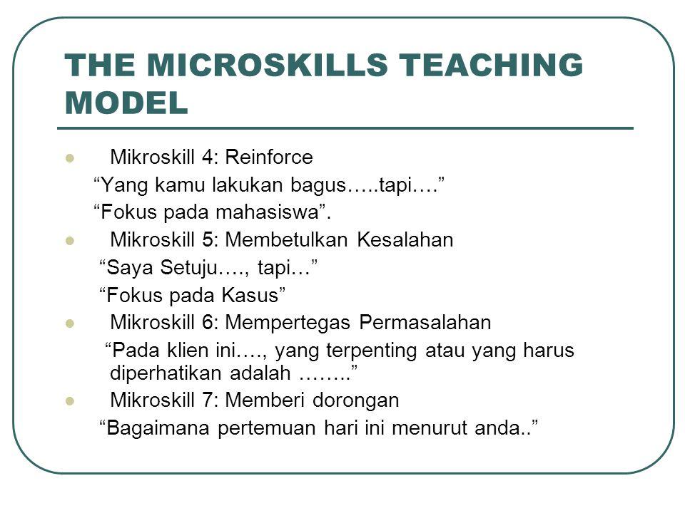 "THE MICROSKILLS TEACHING MODEL Mikroskill 4: Reinforce ""Yang kamu lakukan bagus…..tapi…."" ""Fokus pada mahasiswa"". Mikroskill 5: Membetulkan Kesalahan"