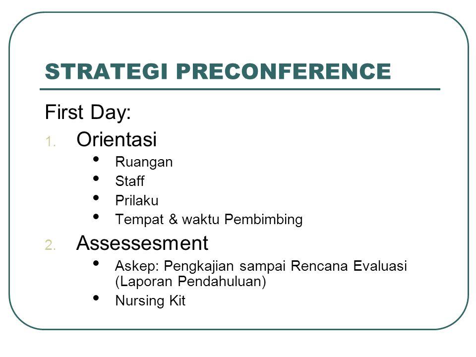 STRATEGI PRECONFERENCE First Day: 1. Orientasi Ruangan Staff Prilaku Tempat & waktu Pembimbing 2. Assessesment Askep: Pengkajian sampai Rencana Evalua