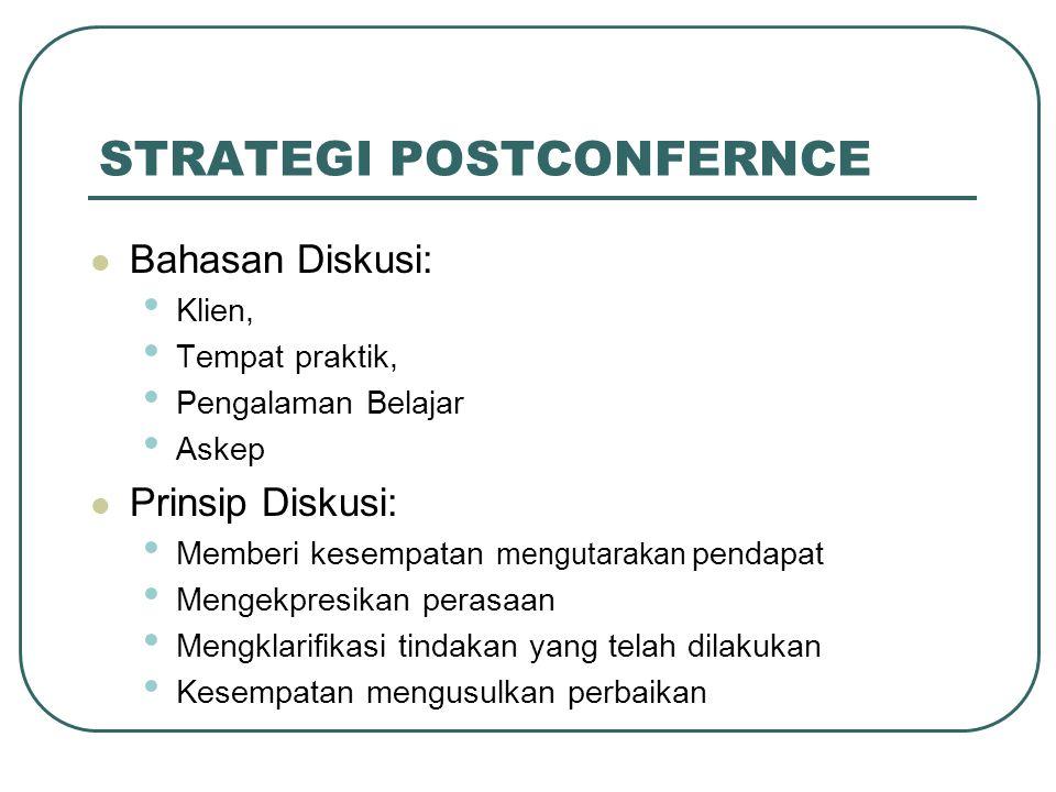 STRATEGI POSTCONFERNCE Bahasan Diskusi: Klien, Tempat praktik, Pengalaman Belajar Askep Prinsip Diskusi: Memberi kesempatan mengutarakan pendapat Meng