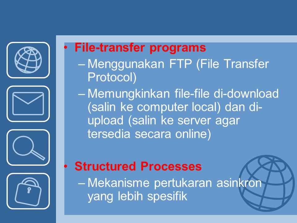 File-transfer programs –Menggunakan FTP (File Transfer Protocol) –Memungkinkan file-file di-download (salin ke computer local) dan di- upload (salin k