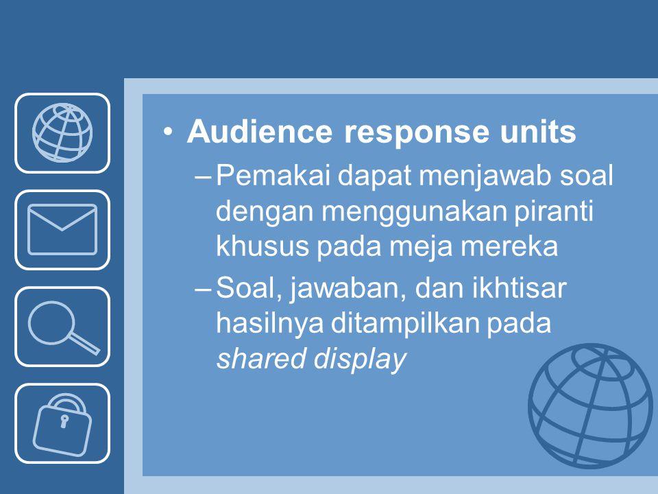 Audience response units –Pemakai dapat menjawab soal dengan menggunakan piranti khusus pada meja mereka –Soal, jawaban, dan ikhtisar hasilnya ditampil