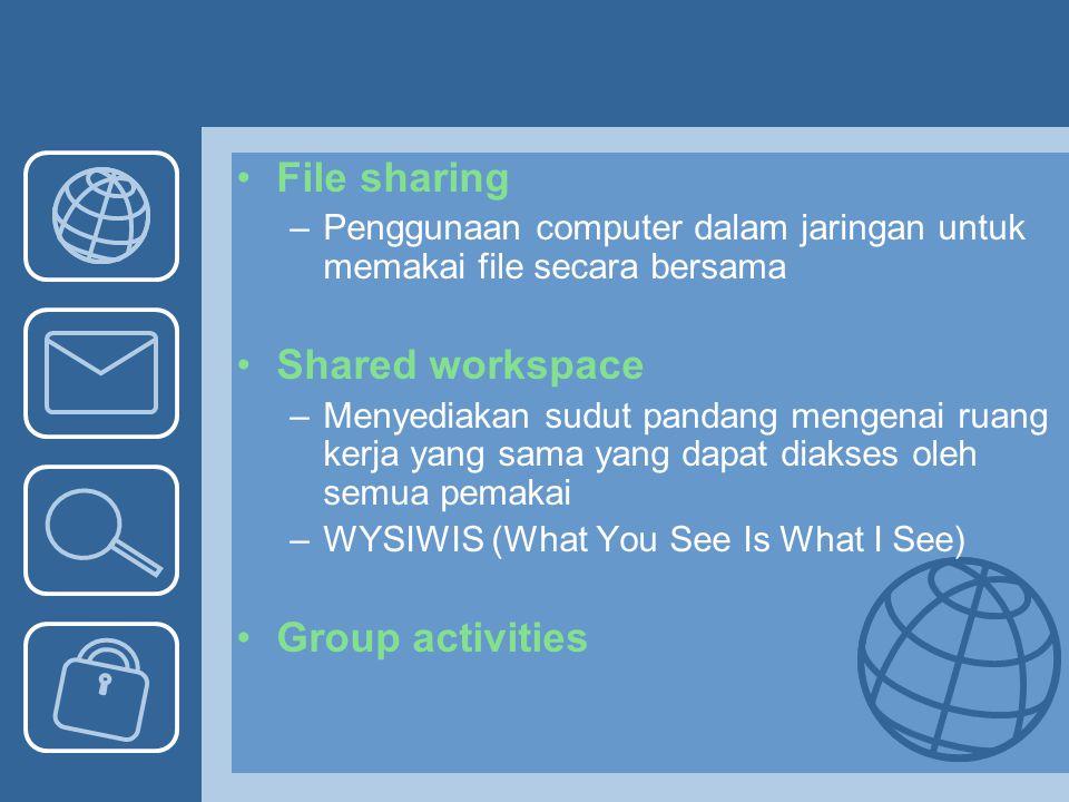File sharing –Penggunaan computer dalam jaringan untuk memakai file secara bersama Shared workspace –Menyediakan sudut pandang mengenai ruang kerja ya
