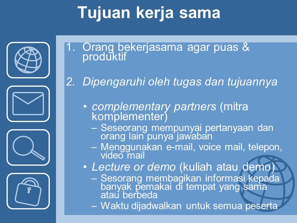 Tujuan kerja sama 1.Orang bekerjasama agar puas & produktif 2.Dipengaruhi oleh tugas dan tujuannya complementary partners (mitra komplementer) –Seseor