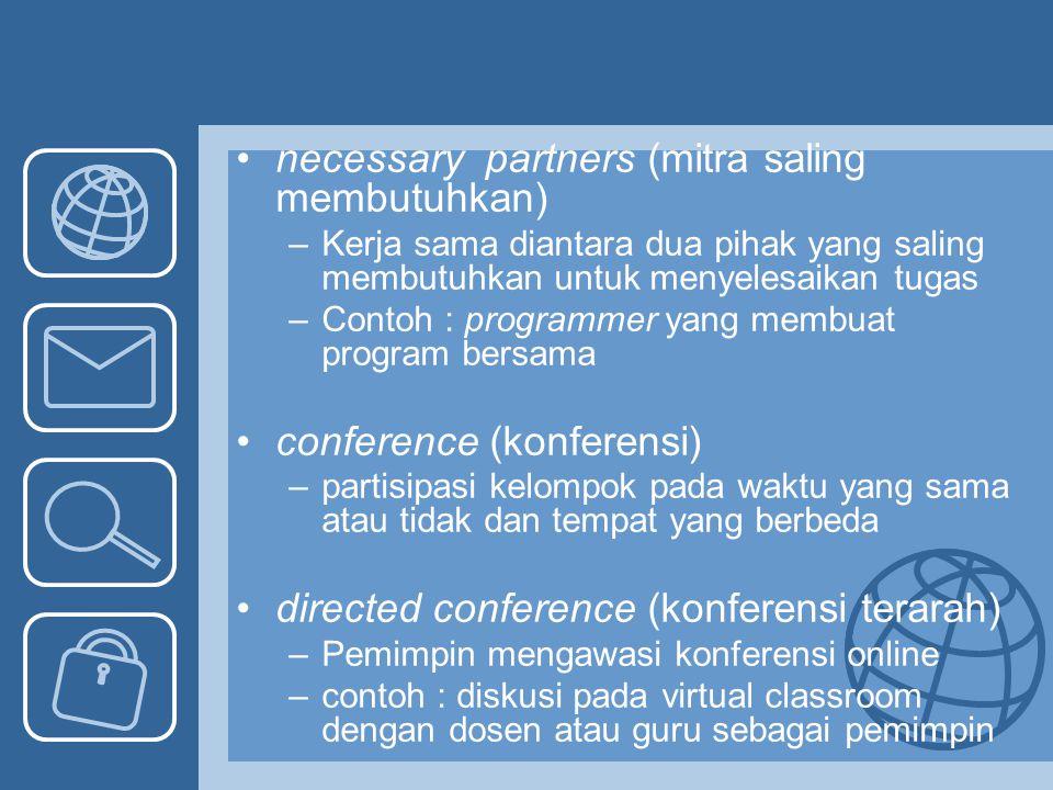 necessary partners (mitra saling membutuhkan) –Kerja sama diantara dua pihak yang saling membutuhkan untuk menyelesaikan tugas –Contoh : programmer ya