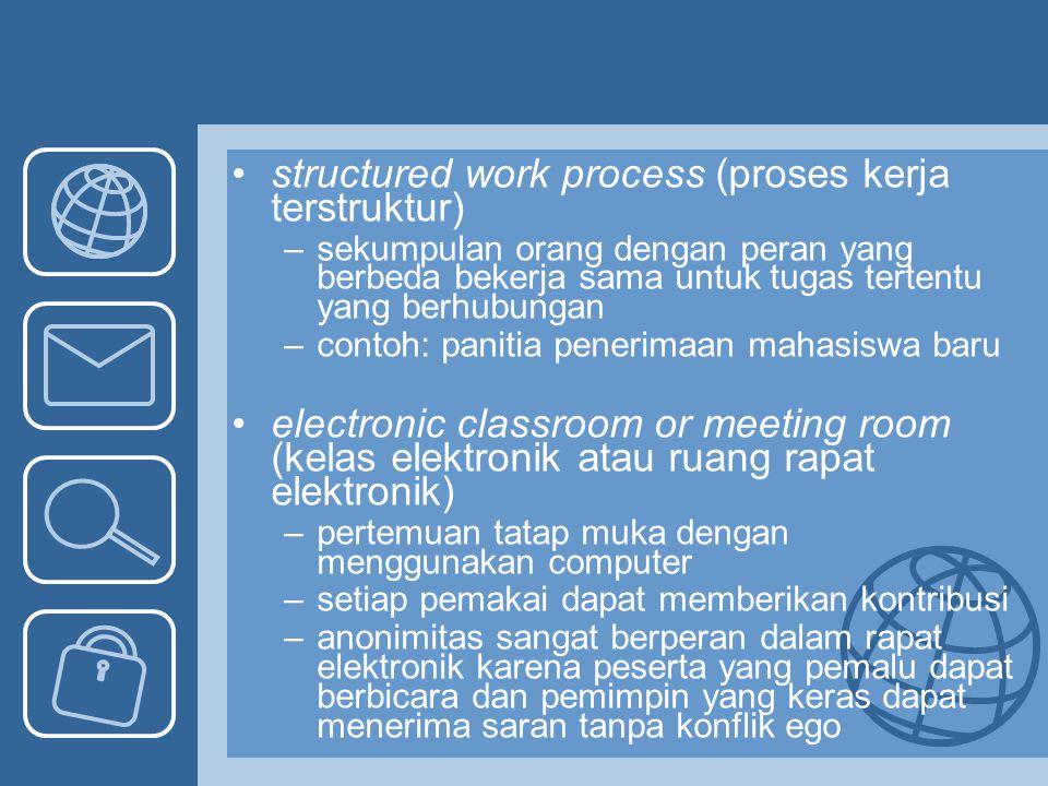 structured work process (proses kerja terstruktur) –sekumpulan orang dengan peran yang berbeda bekerja sama untuk tugas tertentu yang berhubungan –con