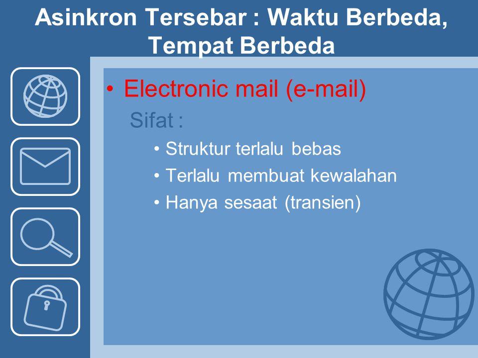 Asinkron Tersebar : Waktu Berbeda, Tempat Berbeda Electronic mail (e-mail) Sifat : Struktur terlalu bebas Terlalu membuat kewalahan Hanya sesaat (tran
