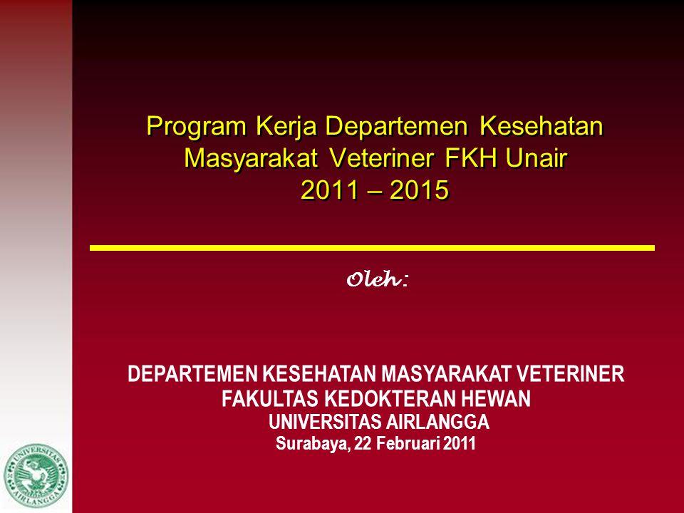 Program Kerja Departemen Kesehatan Masyarakat Veteriner FKH Unair 2011 – 2015 Oleh : DEPARTEMEN KESEHATAN MASYARAKAT VETERINER FAKULTAS KEDOKTERAN HEW