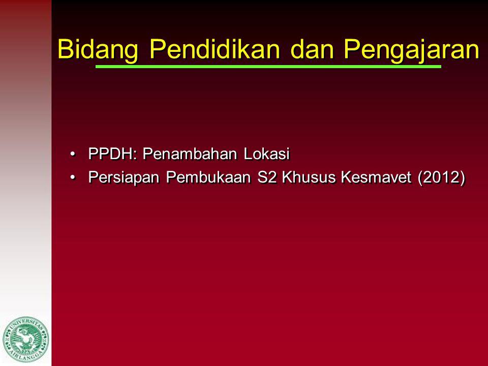 Bidang Pendidikan dan Pengajaran PPDH: Penambahan Lokasi Persiapan Pembukaan S2 Khusus Kesmavet (2012) PPDH: Penambahan Lokasi Persiapan Pembukaan S2