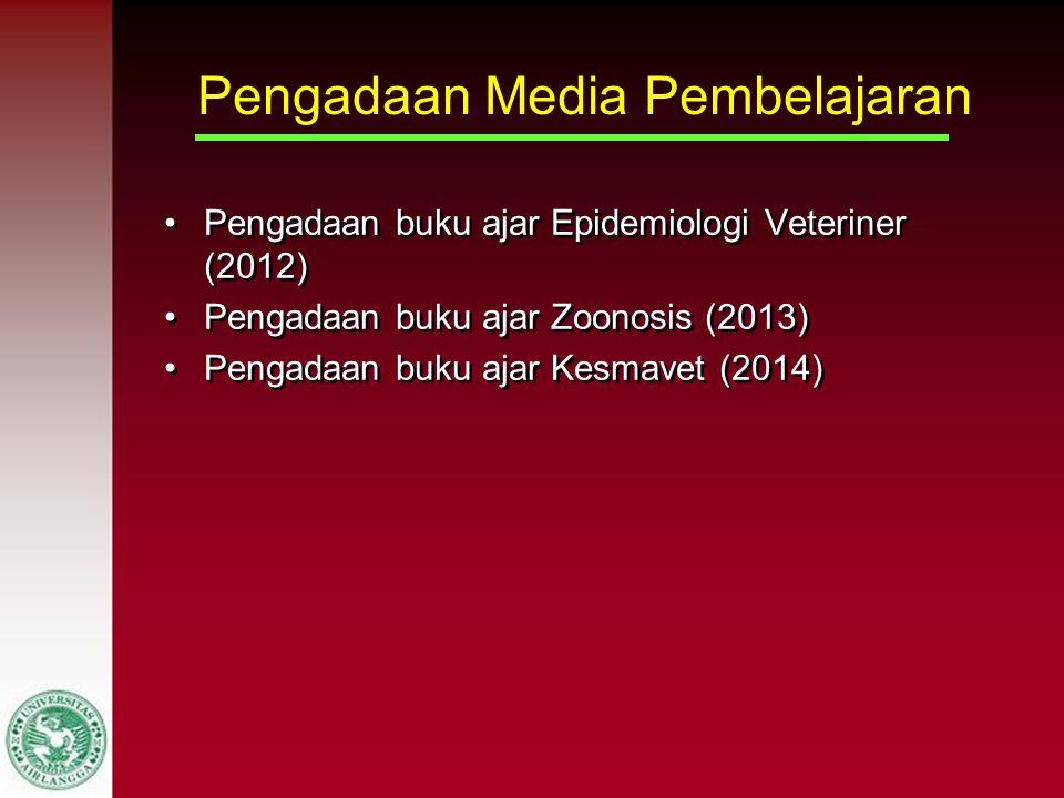 Pengadaan Media Pembelajaran Pengadaan buku ajar Epidemiologi Veteriner (2012) Pengadaan buku ajar Zoonosis (2013) Pengadaan buku ajar Kesmavet (2014)