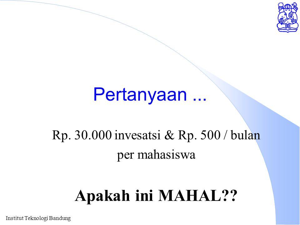 Institut Teknologi Bandung Pertanyaan... Rp. 30.000 invesatsi & Rp. 500 / bulan per mahasiswa Apakah ini MAHAL??
