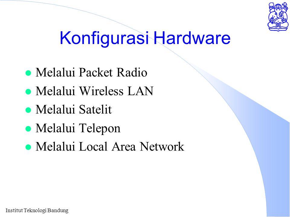 Institut Teknologi Bandung Konfigurasi Hardware l Melalui Packet Radio l Melalui Wireless LAN l Melalui Satelit l Melalui Telepon l Melalui Local Area