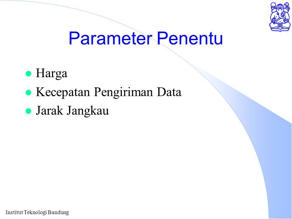 Institut Teknologi Bandung Parameter Penentu l Harga l Kecepatan Pengiriman Data l Jarak Jangkau