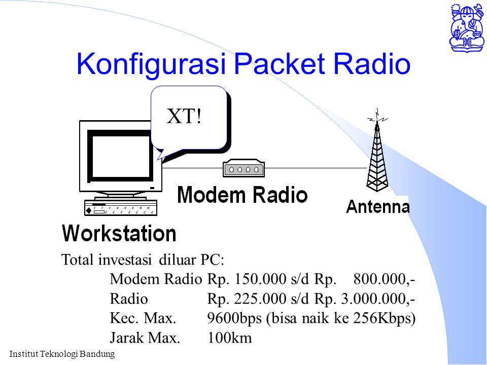 Institut Teknologi Bandung Konfigurasi Packet Radio XT! Total investasi diluar PC: Modem RadioRp. 150.000 s/d Rp. 800.000,- RadioRp. 225.000 s/d Rp. 3