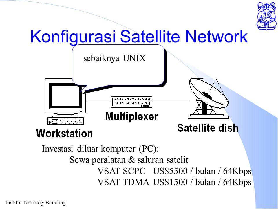 Institut Teknologi Bandung Konfigurasi Satellite Network Investasi diluar komputer (PC): Sewa peralatan & saluran satelit VSAT SCPCUS$5500 / bulan / 6