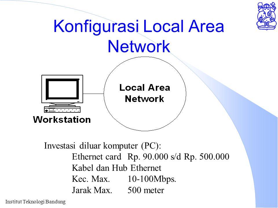 Institut Teknologi Bandung Konfigurasi Local Area Network Investasi diluar komputer (PC): Ethernet cardRp. 90.000 s/d Rp. 500.000 Kabel dan Hub Ethern