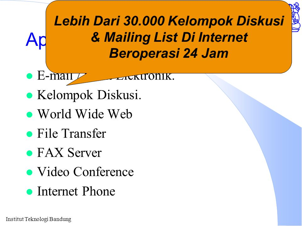 Institut Teknologi Bandung Akses Internet melalui ITB ITB Merupakan Provider Internet Resmi Dari Menparpostel