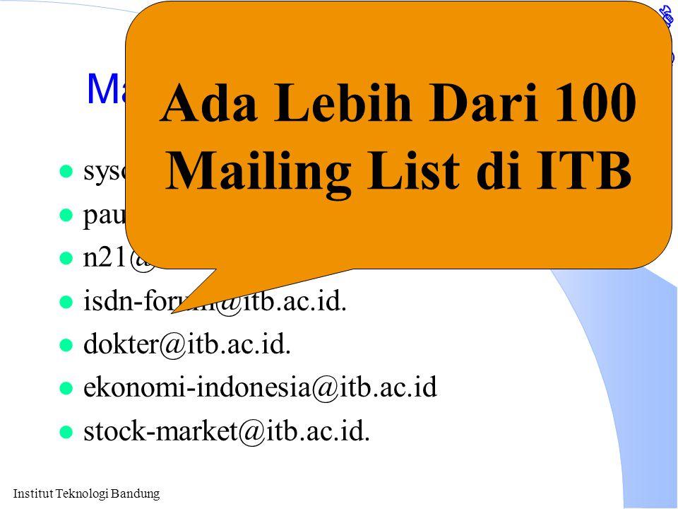 Institut Teknologi Bandung Mailing List Tempat Diskusi l sysop-l@itb.ac.id. l pau-mikro@itb.ac.id. l n21@itb.ac.id. l isdn-forum@itb.ac.id. l dokter@i