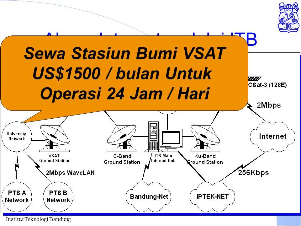 Institut Teknologi Bandung Akses Internet melalui ITB Sewa Stasiun Bumi VSAT US$1500 / bulan Untuk Operasi 24 Jam / Hari