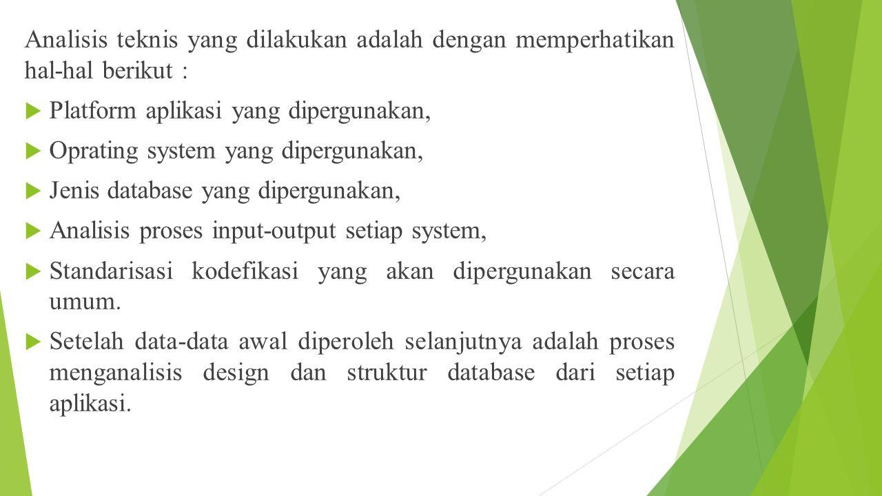 Analisis teknis yang dilakukan adalah dengan memperhatikan hal-hal berikut :  Platform aplikasi yang dipergunakan,  Oprating system yang dipergunaka