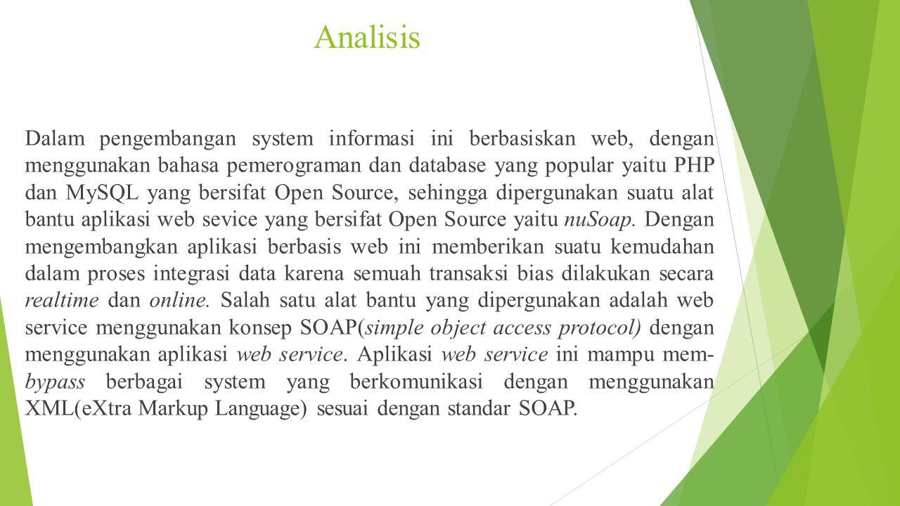 Analisis Dalam pengembangan system informasi ini berbasiskan web, dengan menggunakan bahasa pemerograman dan database yang popular yaitu PHP dan MySQL