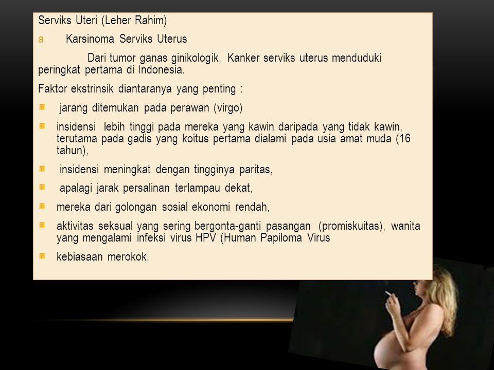 Serviks Uteri (Leher Rahim) a.Karsinoma Serviks Uterus Dari tumor ganas ginikologik, Kanker serviks uterus menduduki peringkat pertama di Indonesia. F