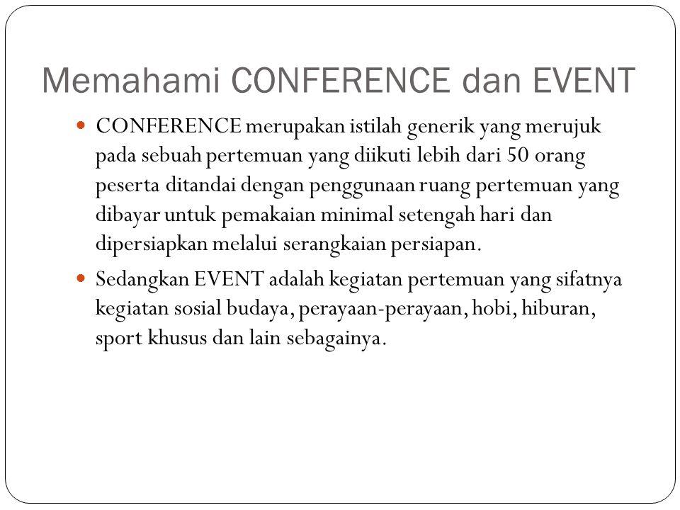 Memahami CONFERENCE dan EVENT CONFERENCE merupakan istilah generik yang merujuk pada sebuah pertemuan yang diikuti lebih dari 50 orang peserta ditanda